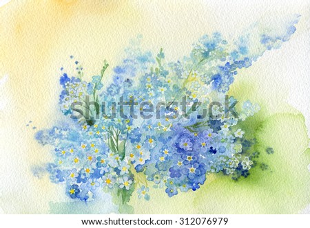 blue flowers , watercolor  - stock photo