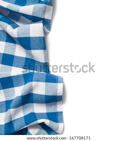 blue folded tablecloth isolated on white - stock photo