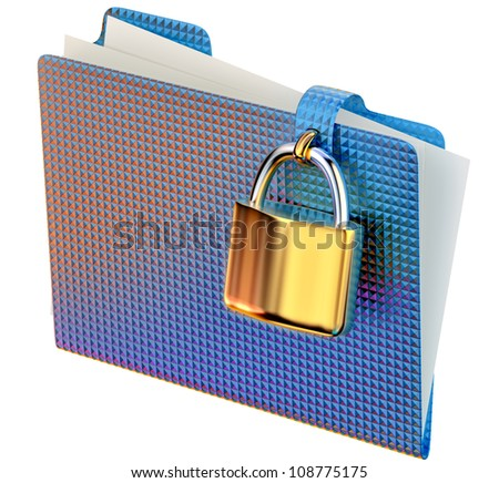 blue folder with golden hinged lock stores important documents - stock photo