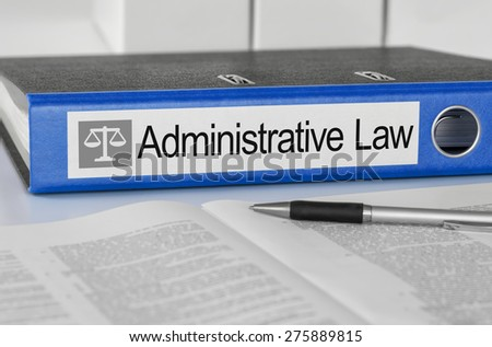 Blue folder with the label Administrative Law