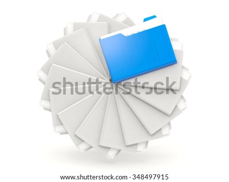 Blue folders in a row isolated on white - stock photo