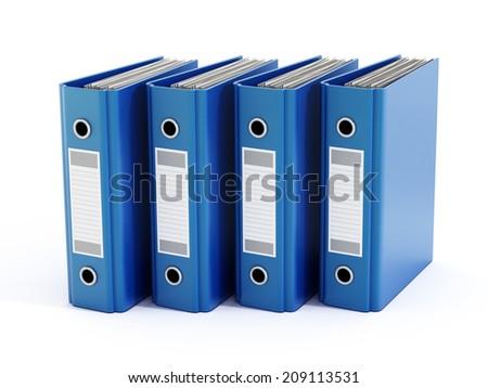 Blue folders isolated on white - stock photo