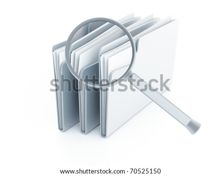 blue folders with papers under magnifier on a white background - stock photo