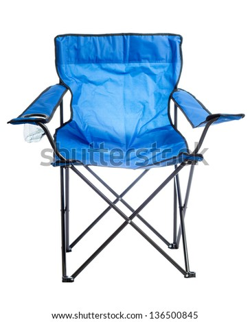 Blue folding camp chair isolated on white background. - stock photo