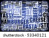 Blue Food Menu Background as Grunge Template Mat - stock photo