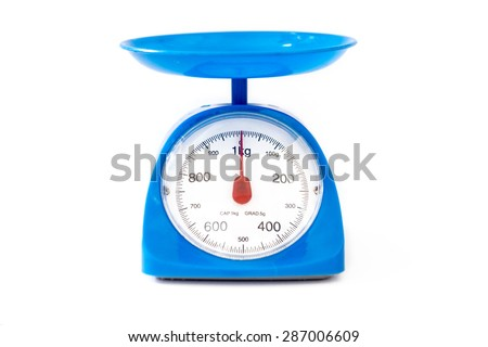 Blue foot weight scale on white background