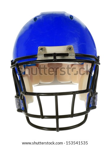 Blue football helmet in front view isolated over white background - With Clipping Path - stock photo