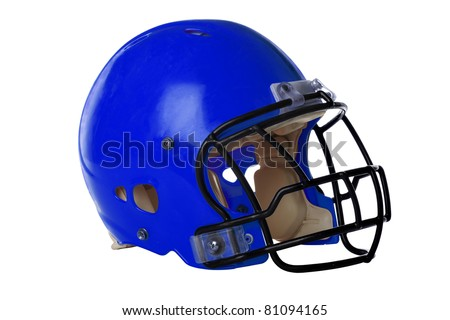 Blue football helmet isolated over white background - With Clipping Path