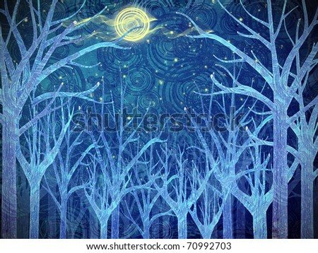 blue forest and full moon - stock photo
