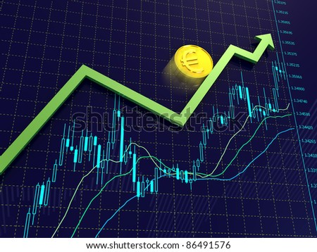 Blue Forex charts with green growing arrow and golden euro coin