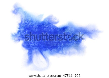 Blue formless watercolor stain isolated over the white background  - space for your own text