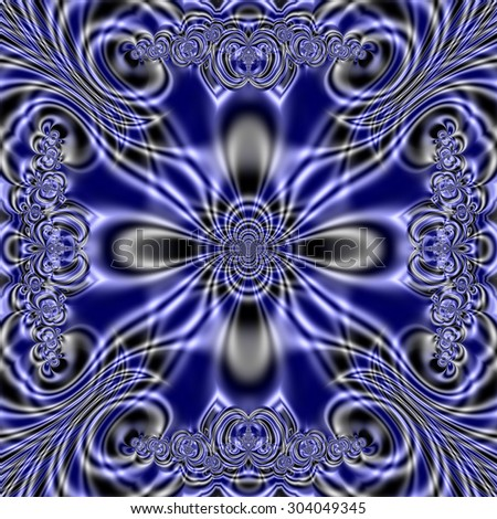 Blue Fractal Abstract - stock photo