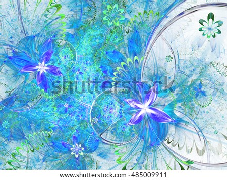 Blue fractal floral pattern, digital artwork for creative graphic design