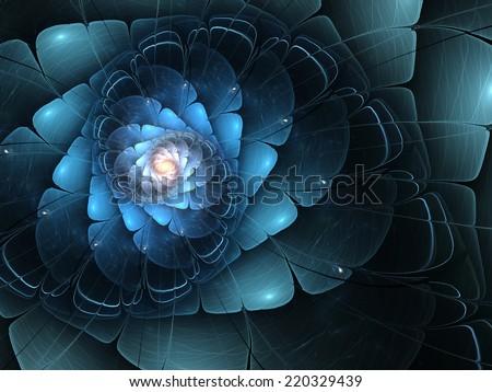 Blue fractal flower, digital artwork for creative graphic design - stock photo