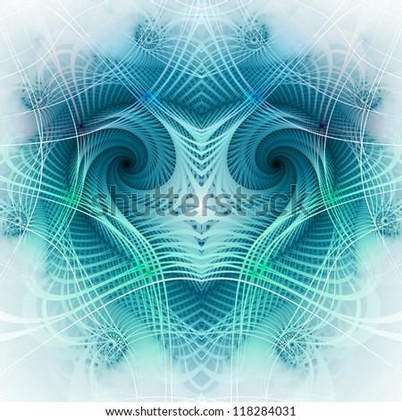 Blue fractal heart, digital artwork, valentine's day theme - stock photo