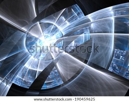 Blue fractal lines, digital artwork for creative graphic design - stock photo