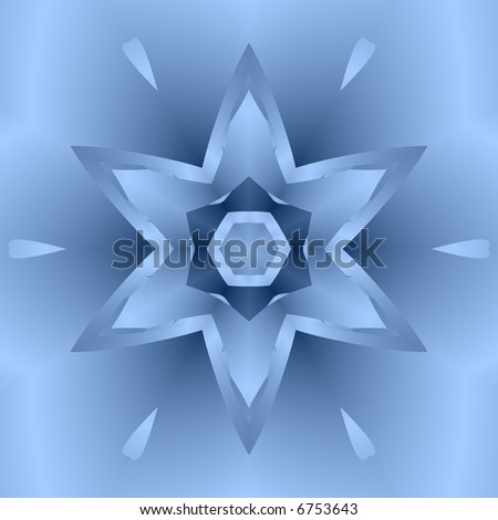 Blue fractal snowflake on blue background. - stock photo