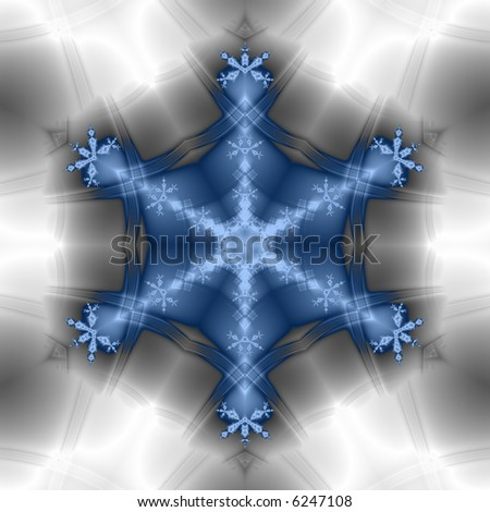 Blue fractal snowflake on silvery gray background. - stock photo
