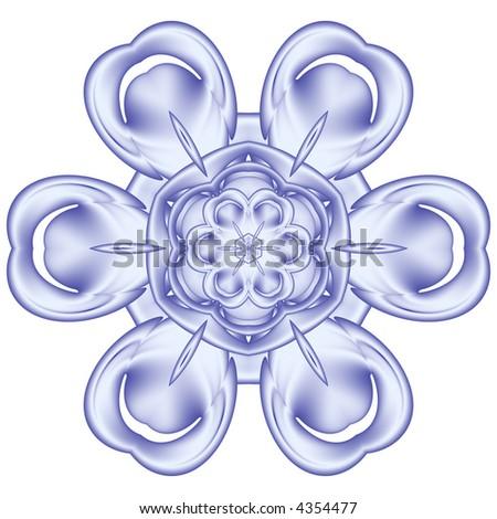 blue fractal snowflake on white background - stock photo