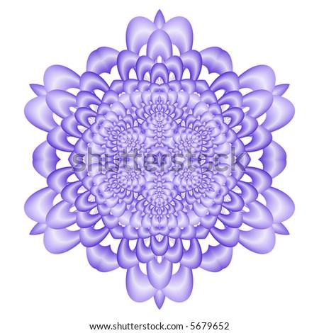 Blue fractal snowflake on white background. - stock photo