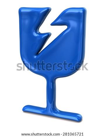 Blue fragile icon on white background  - stock photo