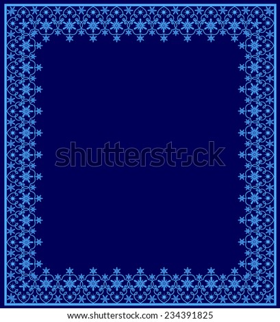 Blue frame with snowflakes on a dark blue background