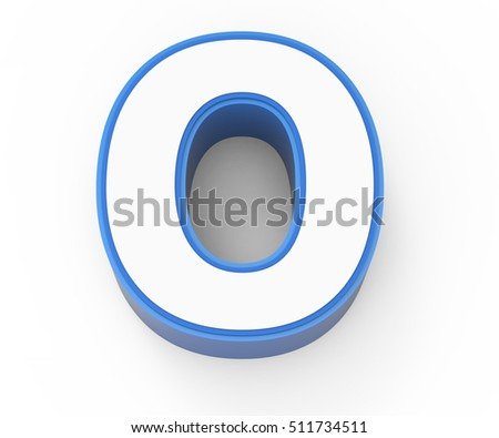 blue framed white number 0, 3D rendering graphic isolated on white background