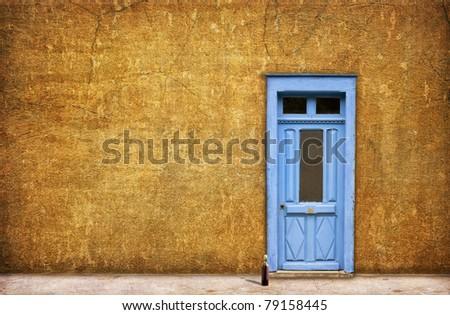 Blue French door - stock photo