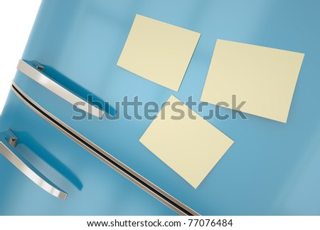 Blue fridge with yellow sticky notes close-up. 3D render. - stock photo