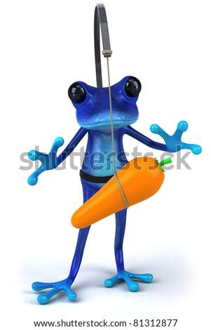 Blue frog - stock photo