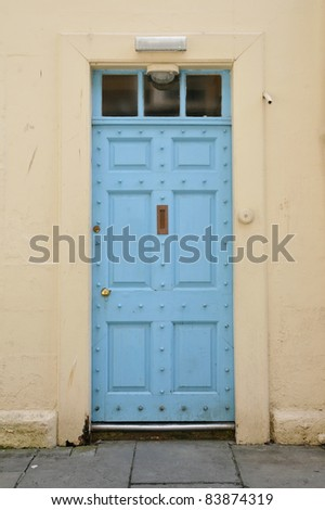 Blue Front Door of a London Town House - stock photo