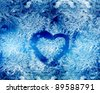 Blue frost winter background with white snowflakes - stock vector