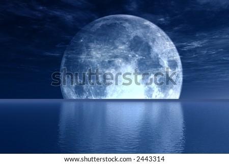 Blue full-moon - stock photo