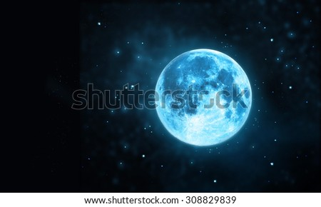 Blue full moon atmosphere with star at dark night sky background, Blank text, Original image from NASA.gov  - stock photo