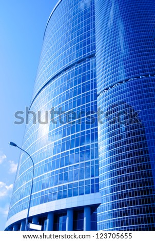 blue futuristic skyscrapers in the Moscow, Russia