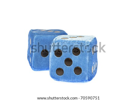 Blue fuzzy dice dice with blackdots,isolated,white - stock photo