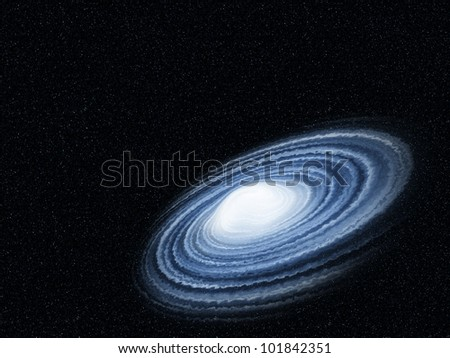 blue galaxy twist with cloud in the universe - stock photo