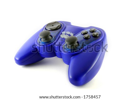 Blue gamepad isolated on white with a little natural shadows (clipping path included) - stock photo