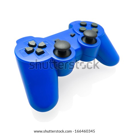 Blue gamepad on white background  - stock photo