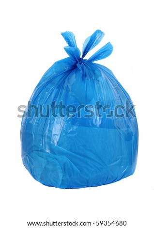 blue garbage bag isolated on a white background - stock photo