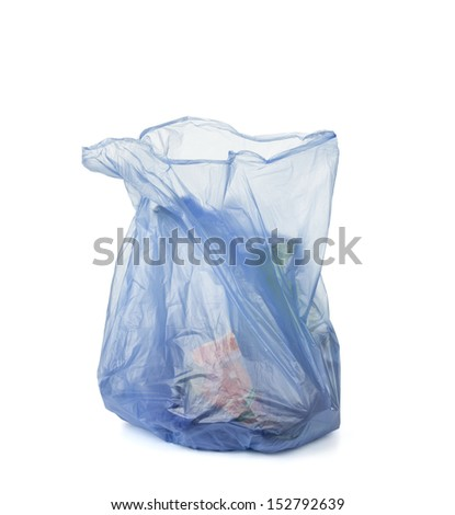 blue garbage bag isolated on white