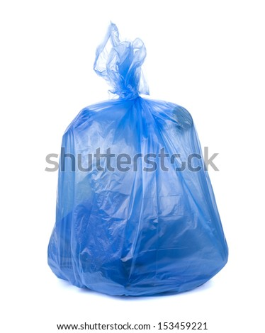 blue garbage bag isolated on white - stock photo