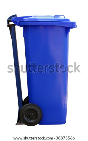blue garbage can isolated on white background - stock photo