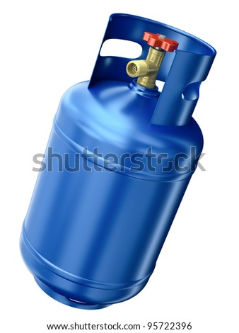 Blue gas container isolated on white background. 3D render. - stock photo