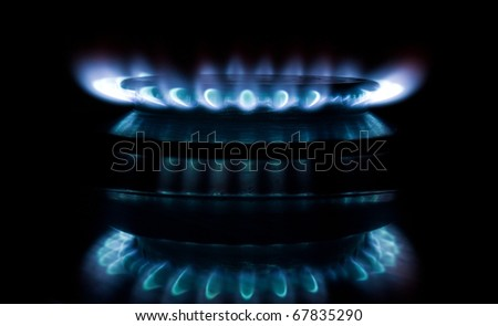 Blue gas flame on the black background - stock photo