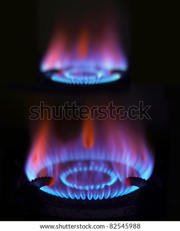 blue gas flames - stock photo