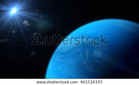 blue gassy exoplanet lit by a nearby star (3d illustration)