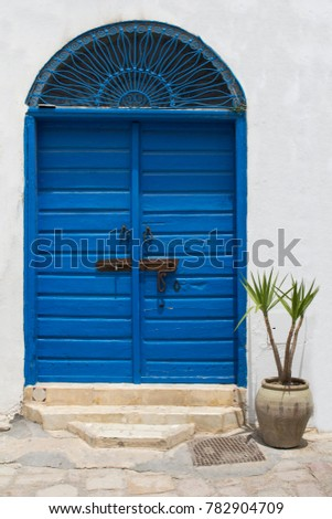 Blue gate and door with ornament from Sidi Bou Said in Tunisia