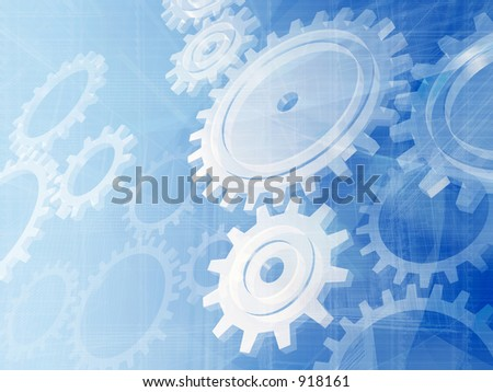 Blue gears engineering technology backdrop. - stock photo