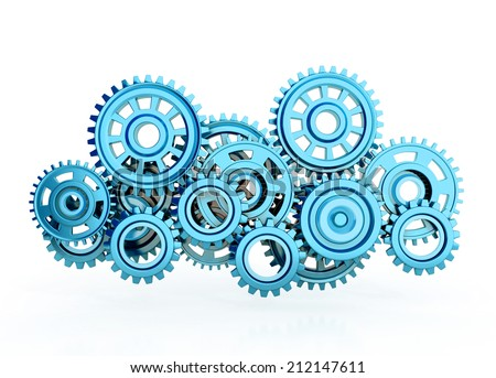 blue gears isolated on white background. 3d render